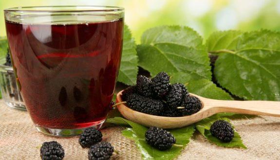Ягоды шелковицы и стакан вина