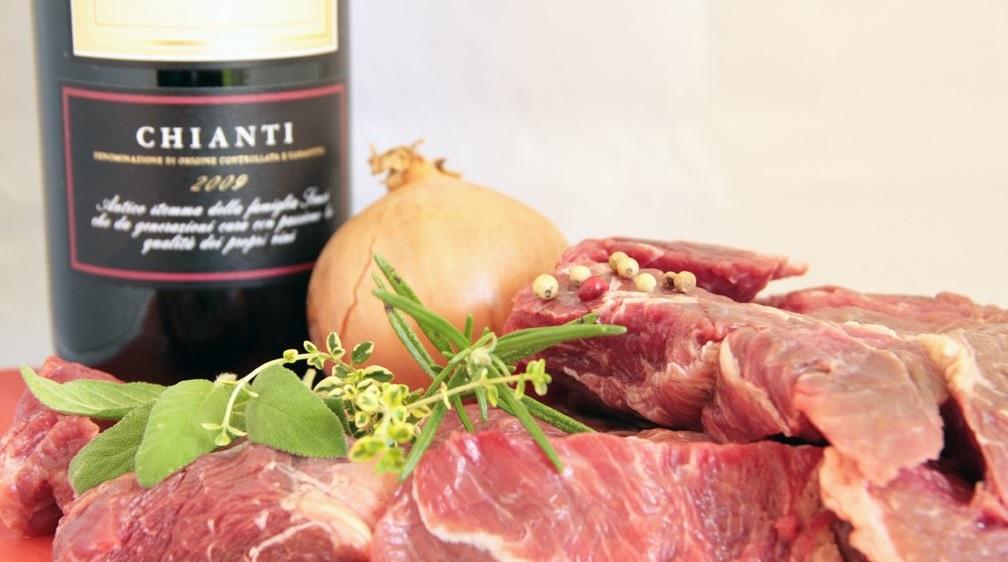 Мясо и красное вино